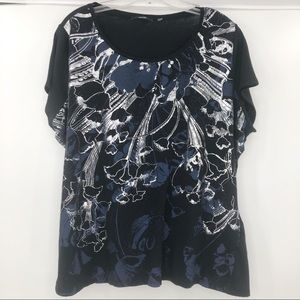 Tahari black blue and silver cotton top size 2X